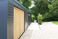 Bespoke garden building incorporating double garage and office